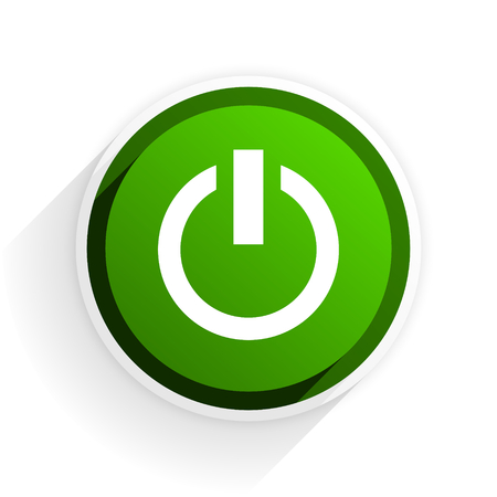 original ecological: power flat icon with shadow on white background, green modern design web element