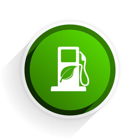 original ecological: biofuel flat icon with shadow on white background, green modern design web element