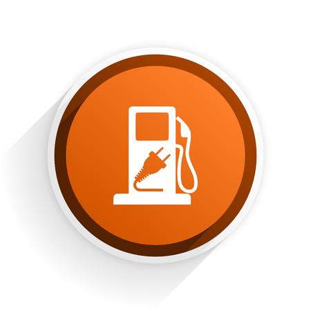 fuel flat icon with shadow on white background, orange modern design web element