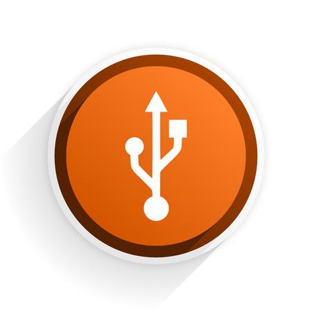 usb flat icon with shadow on white background, orange modern design web element