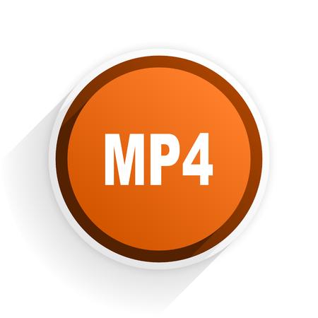 mp4: mp4 flat icon with shadow on white background, orange modern design web element