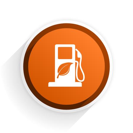 original ecological: biofuel flat icon with shadow on white background, orange modern design web element