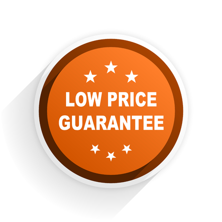 low price: low price guarantee flat icon with shadow on white background, orange modern design web element