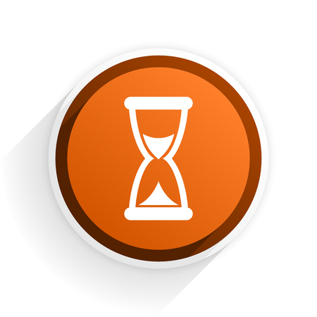 time flat icon with shadow on white background, orange modern design web element