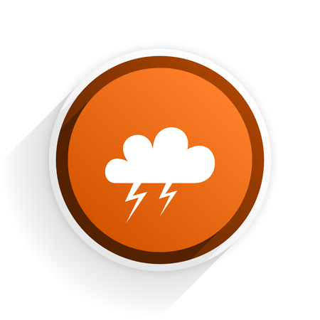 storm flat icon with shadow on white background, orange modern design web element