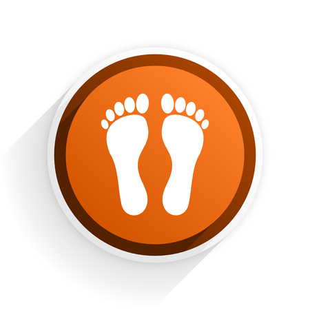 original ecological: foot flat icon with shadow on white background, orange modern design web element