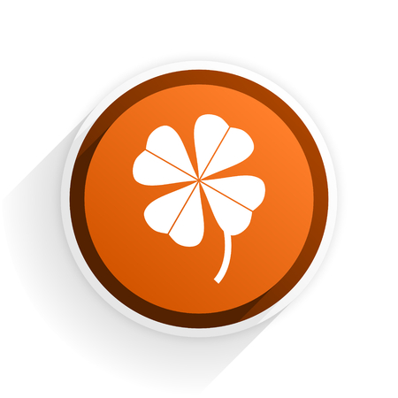fourleaf: four-leaf clover flat icon with shadow on white background, orange modern design web element Stock Photo