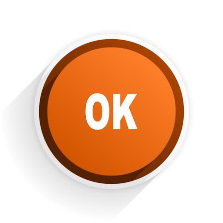 yea: ok flat icon with shadow on white background, orange modern design web element