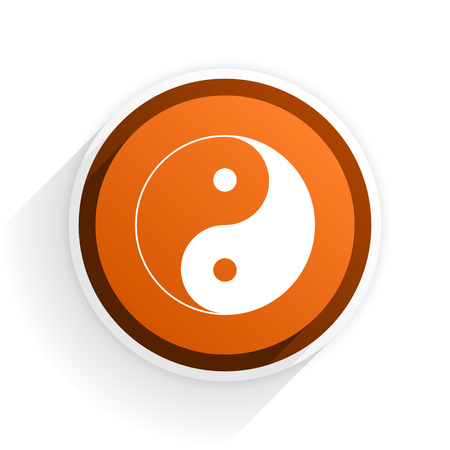 ying and yang: ying yang flat icon with shadow on white background, orange modern design web element
