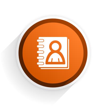 address book: address book flat icon with shadow on white background, orange modern design web element
