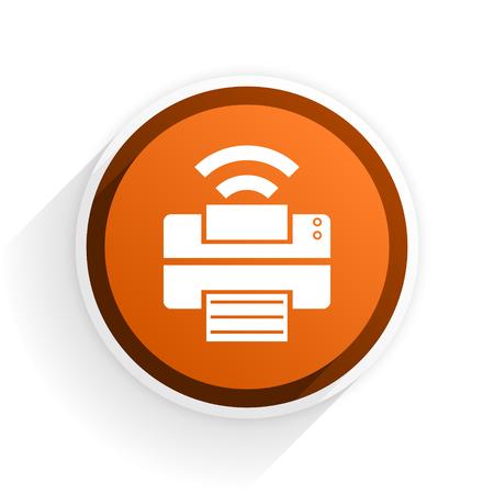 printer flat icon with shadow on white background, orange modern design web element Stock Photo