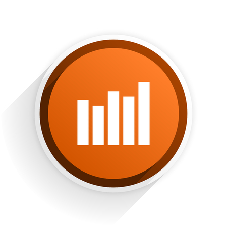 industry trends: graph flat icon with shadow on white background, orange modern design web element Stock Photo