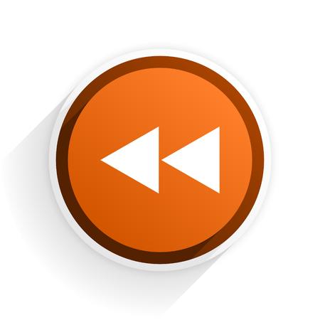 eject icon: rewind flat icon with shadow on white background, orange modern design web element