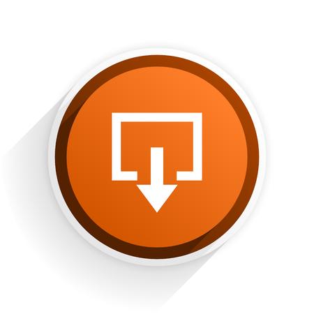 exit flat icon with shadow on white background, orange modern design web element Stock Photo