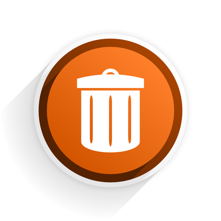 recycle flat icon with shadow on white background, orange modern design web element