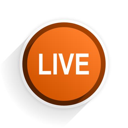 news cast: live flat icon with shadow on white background, orange modern design web element