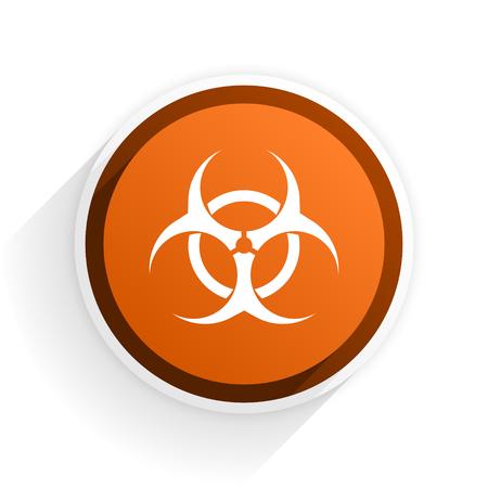 varez: biohazard flat icon with shadow on white background, orange modern design web element Stock Photo