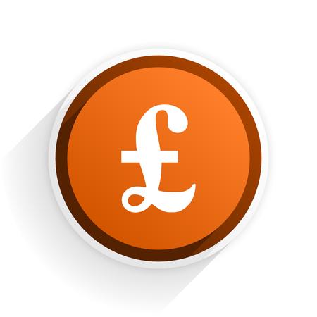 pound flat icon with shadow on white background, orange modern design web element Stock Photo