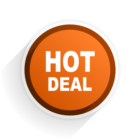 best ad: hot deal flat icon with shadow on white background, orange modern design web element Stock Photo