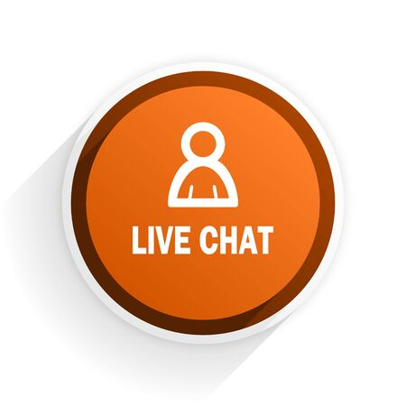 chatter: live chat flat icon with shadow on white background, orange modern design web element
