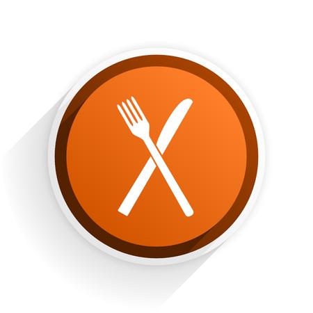 restaurant flat icon with shadow on white background, orange modern design web element Stock Photo