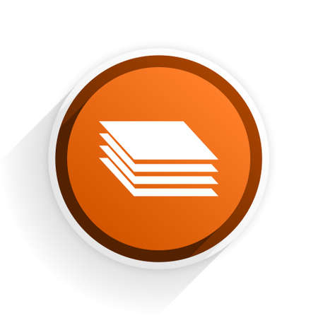 original circular abstract: layers flat icon with shadow on white background, orange modern design web element