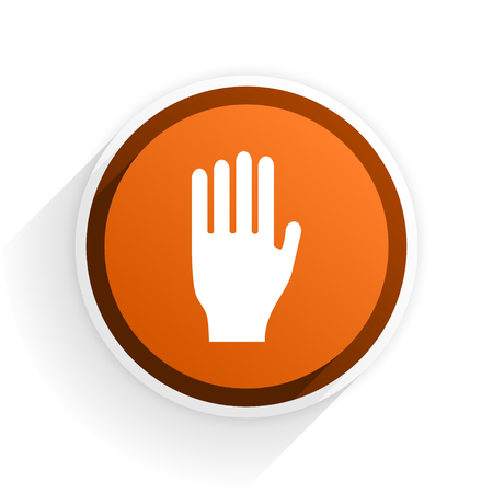 the coachman: stop flat icon with shadow on white background, orange modern design web element
