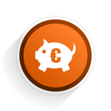 piggy bank flat icon with shadow on white background, orange modern design web element Stock Photo