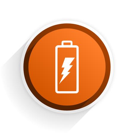 original ecological: battery flat icon with shadow on white background, orange modern design web element Stock Photo