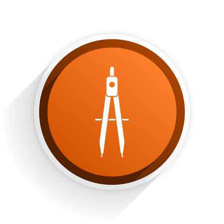 learning flat icon with shadow on white background, orange modern design web element