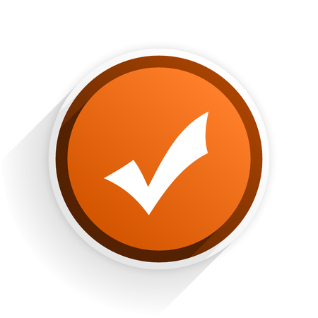 accept flat icon with shadow on white background, orange modern design web element