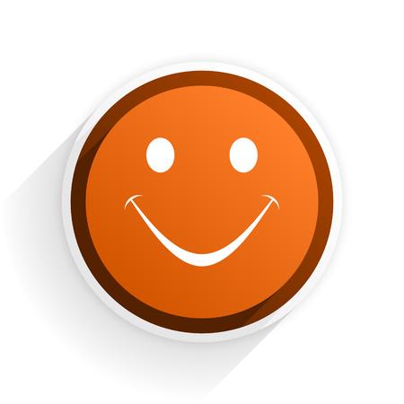 smile flat icon with shadow on white background, orange modern design web element Stock Photo