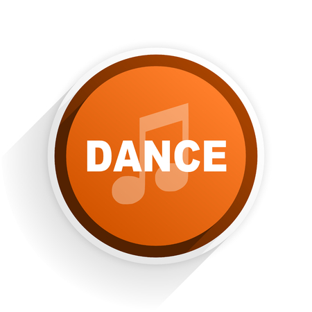 live stream radio: dance music flat icon with shadow on white background, orange modern design web element Stock Photo