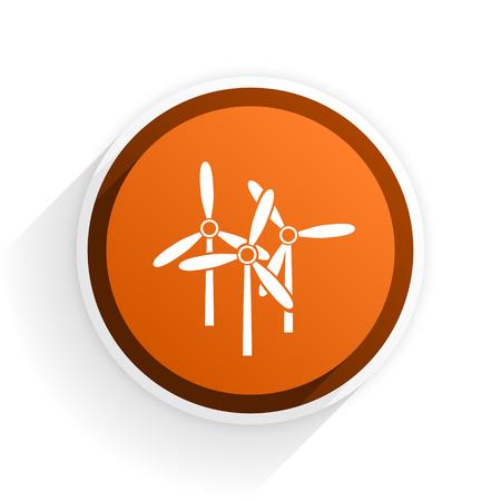 original ecological: windmill flat icon with shadow on white background, orange modern design web element Stock Photo