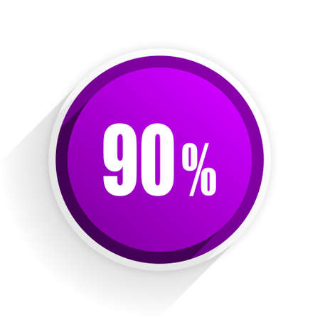 90: 90 percent flat icon