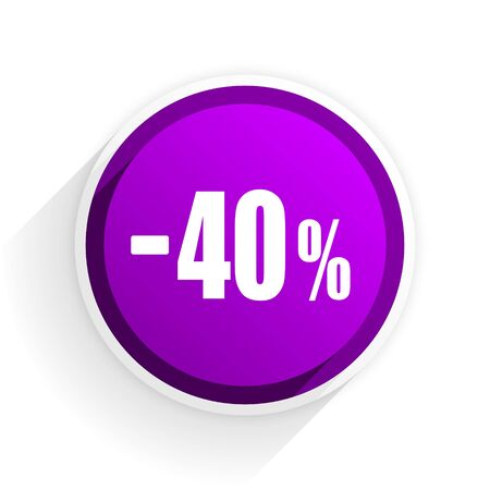 40: 40 percent sale retail flat icon