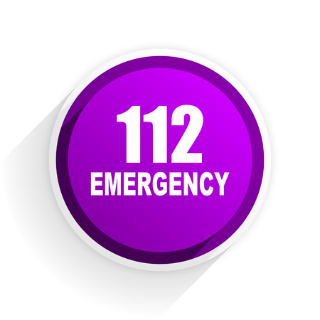 rescue circle: number emergency 112 flat icon