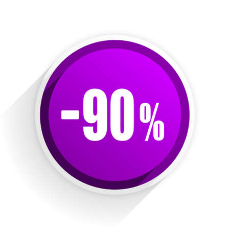 90: 90 percent sale retail flat icon