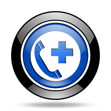 emergency call: emergency call blue glossy icon Stock Photo
