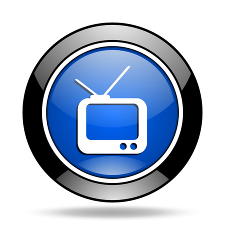 glossy icon: tv blue glossy icon
