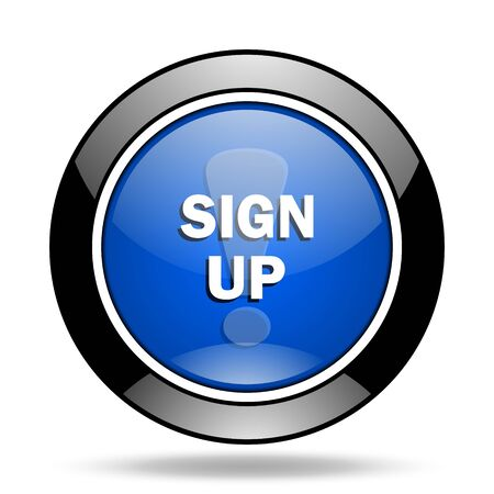 subscribing: sign up blue glossy icon