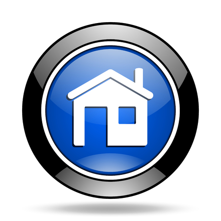 glossy icon: house blue glossy icon