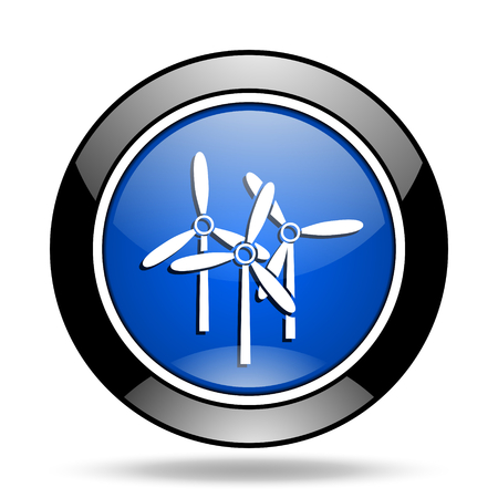 original ecological: windmill blue glossy icon