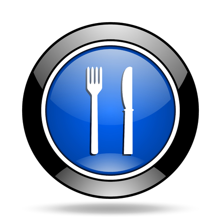 glossy icon: eat blue glossy icon