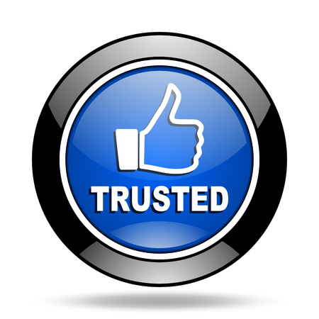 trusted: trusted blue glossy icon Stock Photo