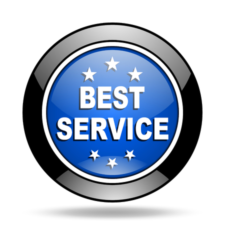 best service: best service blue glossy icon Stock Photo