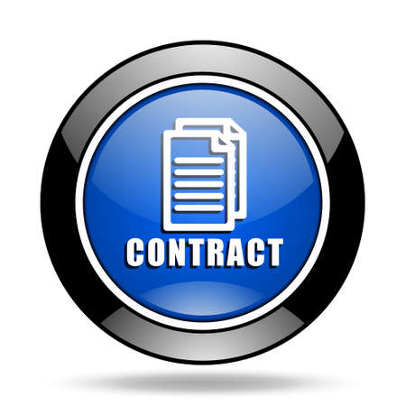 glossy icon: contract blue glossy icon
