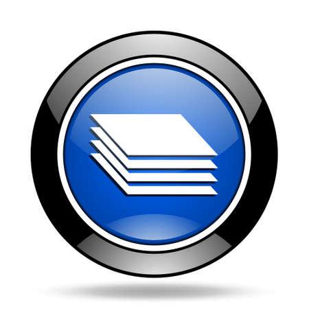 original circular abstract: layers blue glossy icon Stock Photo