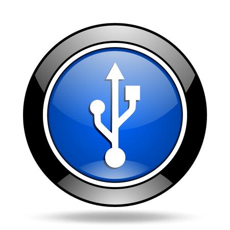 usb blue glossy icon