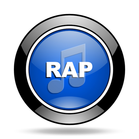 rap music: rap music blue glossy icon Stock Photo